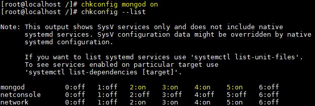 MongoDB - checar serviço - inicializacao - chkconfig